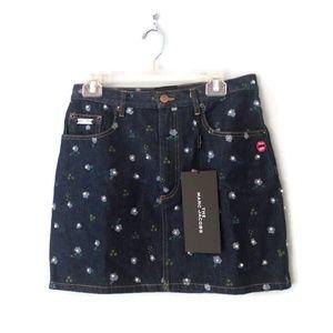 NWT Denim Mini Skirt Floral Print Pearl Details